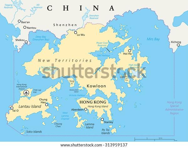 Hong Kong Vicinity Political Map World Stock Vector (Royalty Free ...