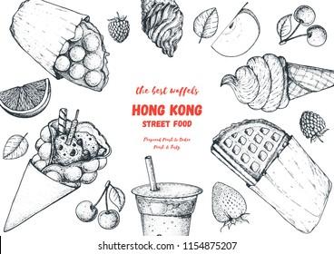 Hong kong waffle hand drawn illustration. Chinese food menu design template. Engraved style illustration. Hong kong street food sketch. Vintage hand drawn sketch, vector illustration.