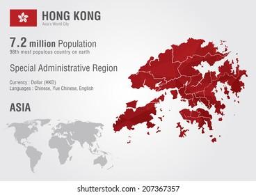 Hong Kong world map with a pixel diamond texture. World geography.