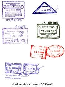 hong kong,china,malaysia, thailand and vietnam visa stamps vectors