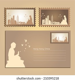 Hong Kong,China,Postcard and Stamp City Skyline, vector Illustration