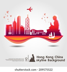 Hong Kong,China,skyline background,vector Illustration