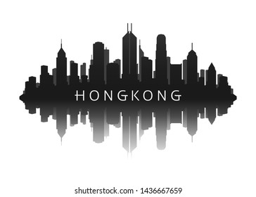 Hongkong city skyline silhouette with reflection vector image