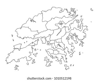 hongKong outline map. detailed isolated vector country border contour map on white background.