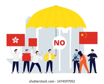 Hongkong protest in tiny people illustration. China mainland and Hongkong conflict image.