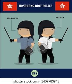 Hongkong riot police cartoon set vector illustration, Hongkong, China police guard.