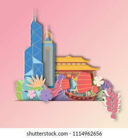 Hongkong,China  with Tropical leaf  Summer Banner,Paper art graphic Background