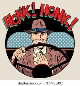 honk vehicle horn driver man