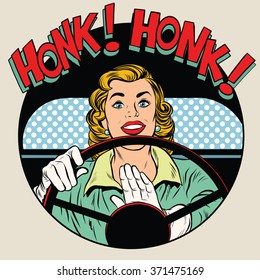honk vehicle horn driver woman