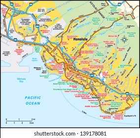 Honolulu, Hawaii area map