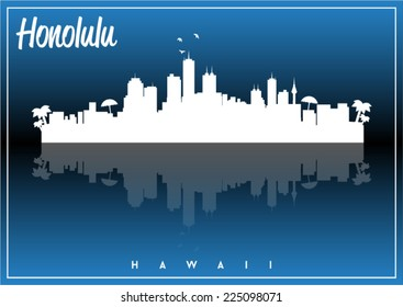 Honolulu, Hawaii, skyline silhouette vector design on parliament blue and black background.