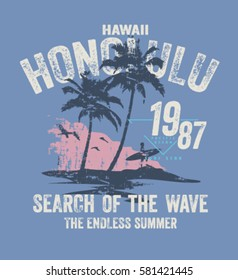 honolulu hawaii surf typography, t-shirt graphics , vectors.palm tree silhouette