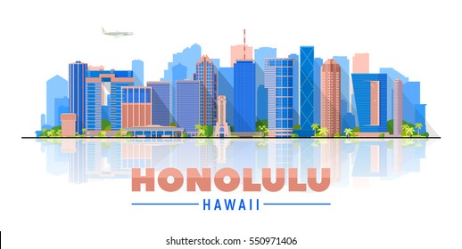 Honolulu Hawaii (United States) city skyline vector background. Flat vector illustration. Business travel and tourism concept with modern buildings. Image for banner or web site.