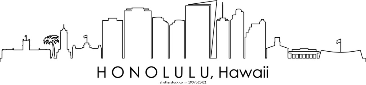 HONOLULU Hawaii USA City Skyline Vector