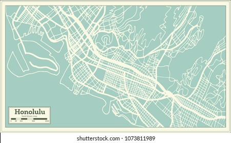 Honolulu USA City Map in Retro Style. Outline Map. Vector Illustration.