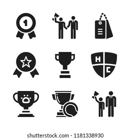 honor icon. 9 honor vector icons set. award, trophy and dog tags military icons for web and design about honor theme