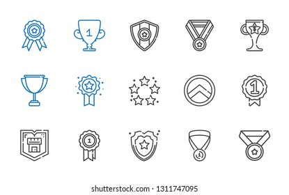 honor icons set. Collection of honor with medal, shield, badge, best, trophy. Editable and scalable honor icons.
