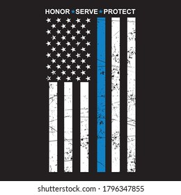 Honor Serve Protect Thin Blue Line T-Shirt Design Vector