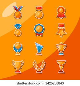 Honored golden and glassy medals, rewards, prizes and cups of honour element illustration pack