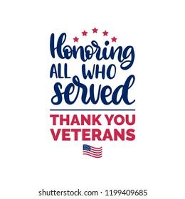 Ehrerbietend All Who Served, handschriftlich mit Flaggengrafik der USA. 11. November Feiertage Hintergrund. Veteranen-Tagesposter, Grußkarte in Vektorgrafik.