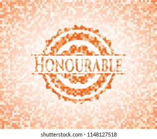 Honourable abstract emblem, orange mosaic background