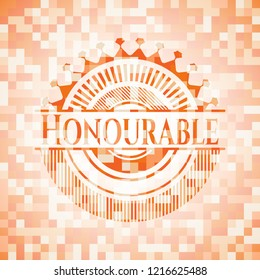 Honourable abstract orange mosaic emblem with background
