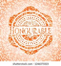 Honourable abstract orange mosaic emblem