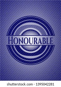 Honourable badge with jean texture. Vector Illustration. Detailed.