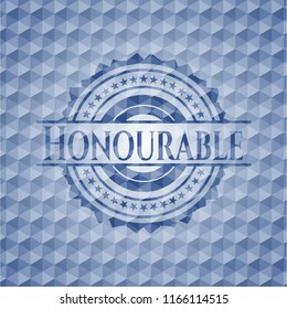 Honourable blue badge with geometric pattern.