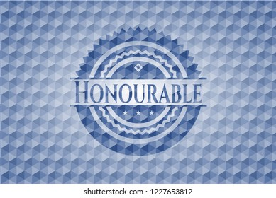Honourable blue emblem or badge with geometric pattern background.