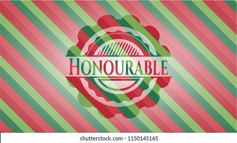 Honourable christmas badge.