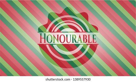 Honourable christmas badge. Vector Illustration. Detailed.