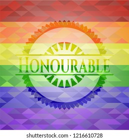 Honourable emblem on mosaic background with the colors of the LGBT flag