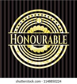 Honourable golden badge or emblem
