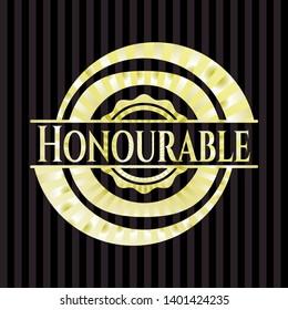 Honourable golden emblem or badge. Vector Illustration. Detailed.
