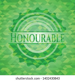 Honourable green emblem. Mosaic background. Vector Illustration. Detailed.