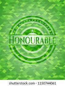 Honourable green mosaic emblem
