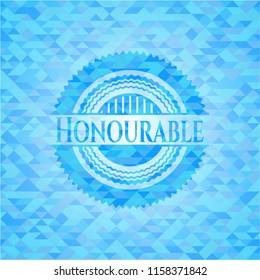 Honourable light blue mosaic emblem