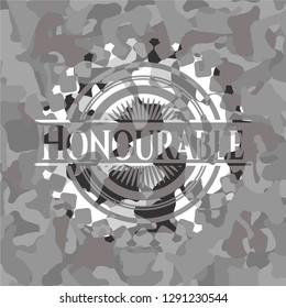 Honourable on grey camo pattern