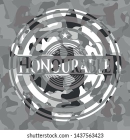 Honourable on grey camouflage pattern