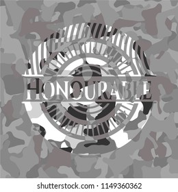 Honourable on grey camouflage texture