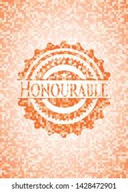 Honourable orange mosaic emblem. Vector Illustration. Detailed.