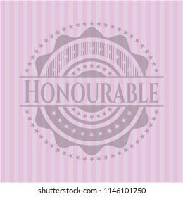 Honourable pink emblem