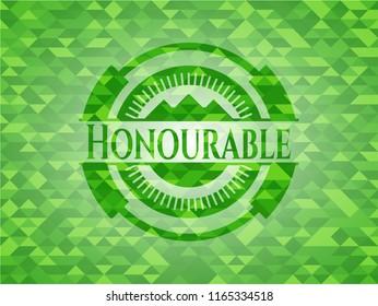 Honourable realistic green emblem. Mosaic background