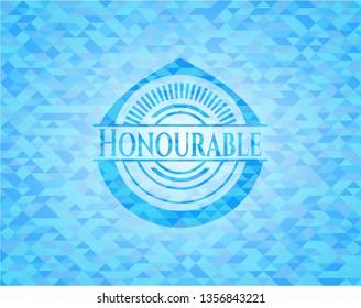 Honourable realistic light blue emblem. Mosaic background