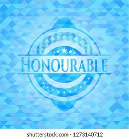 Honourable realistic sky blue mosaic emblem