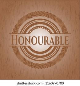 Honourable realistic wooden emblem