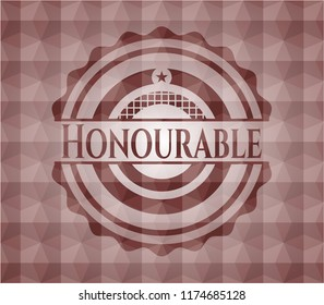 Honourable red seamless emblem with geometric pattern.