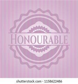 Honourable retro pink emblem