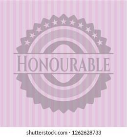 Honourable retro style pink emblem